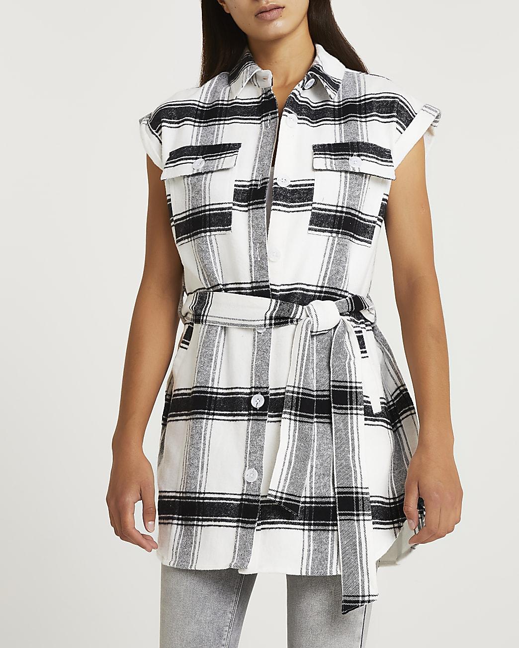 Grey check belted sleeveless shirt