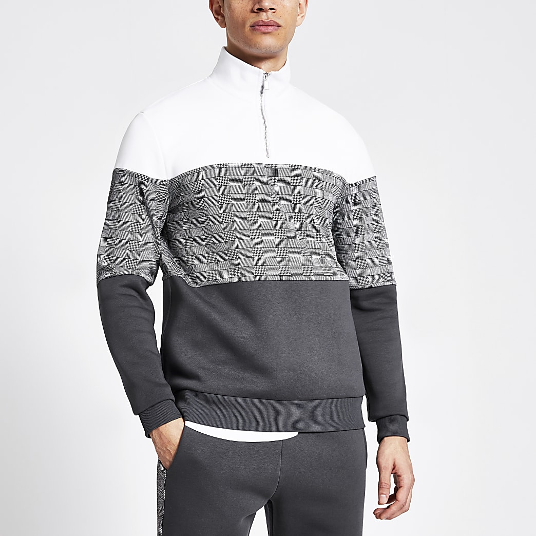 Grey check blocked half zip slim sweatshirt
