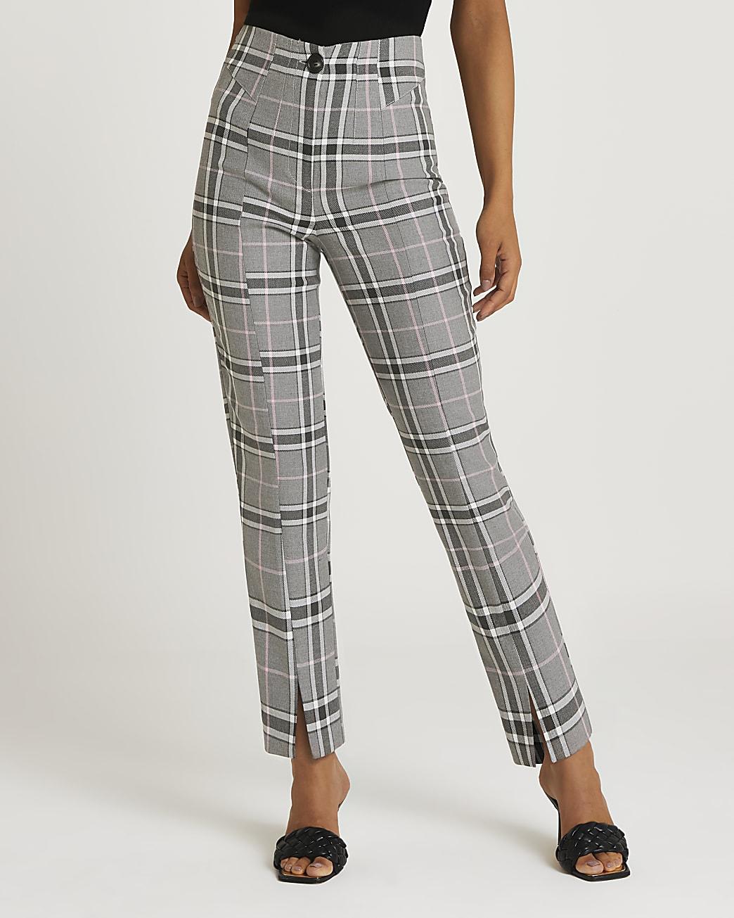 Grey check cigarette trousers