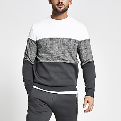 Grey check colour blocked slim fit sweatshirt