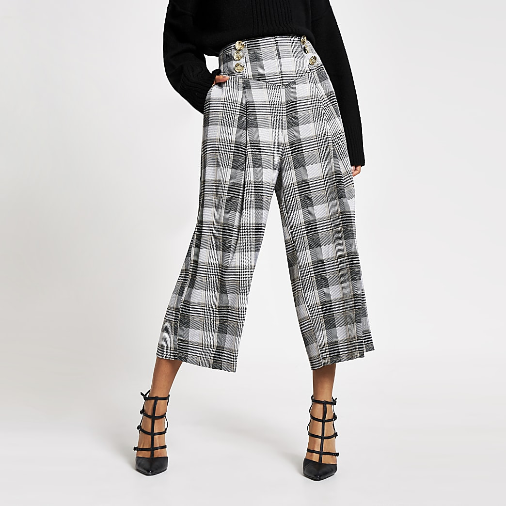 Grey check cropped wide leg trousers