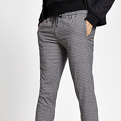 Grey check cuffed smart skinny joggers