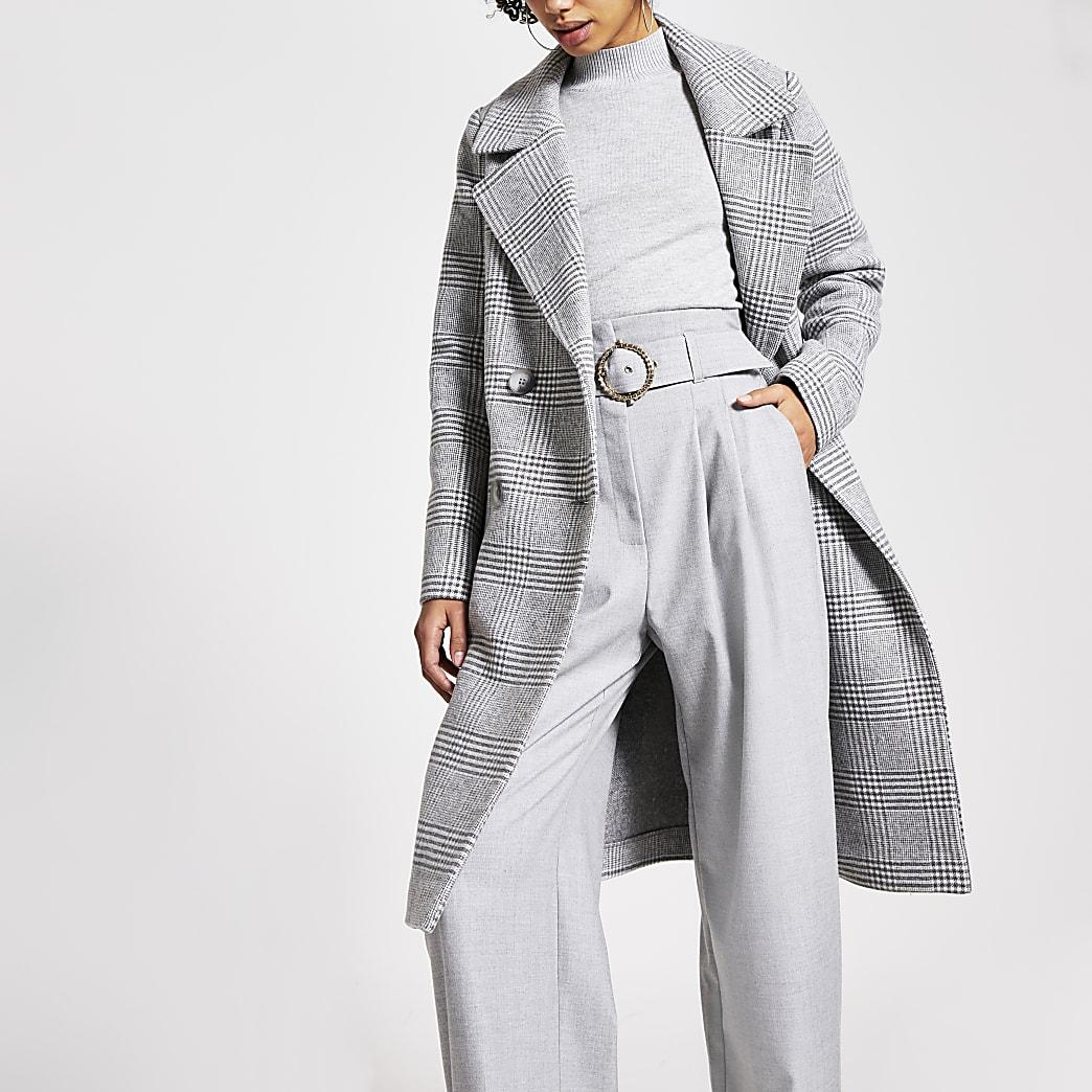 Grijze geruite lange double-breasted jas