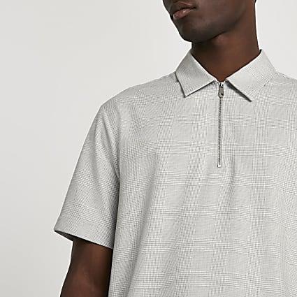 Grey check half zip short sleeve polo shirt