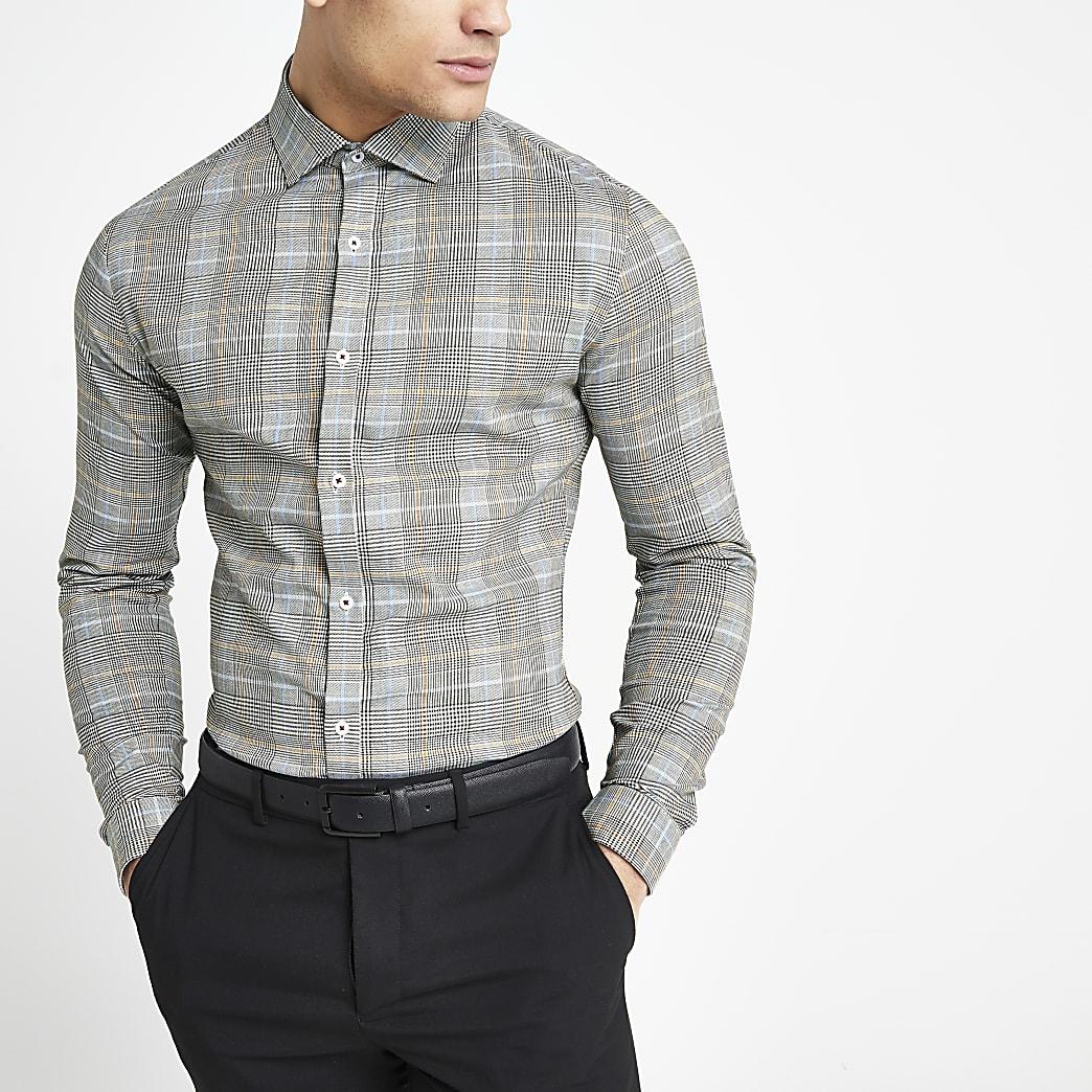 Grijs geruit overhemd met lange mouwen en normale pasvorm
