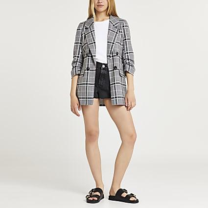 Grey Check Long Soft Blazer MS