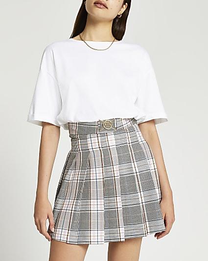 Grey check mini skirt