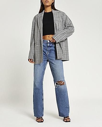 Grey check oversized blazer