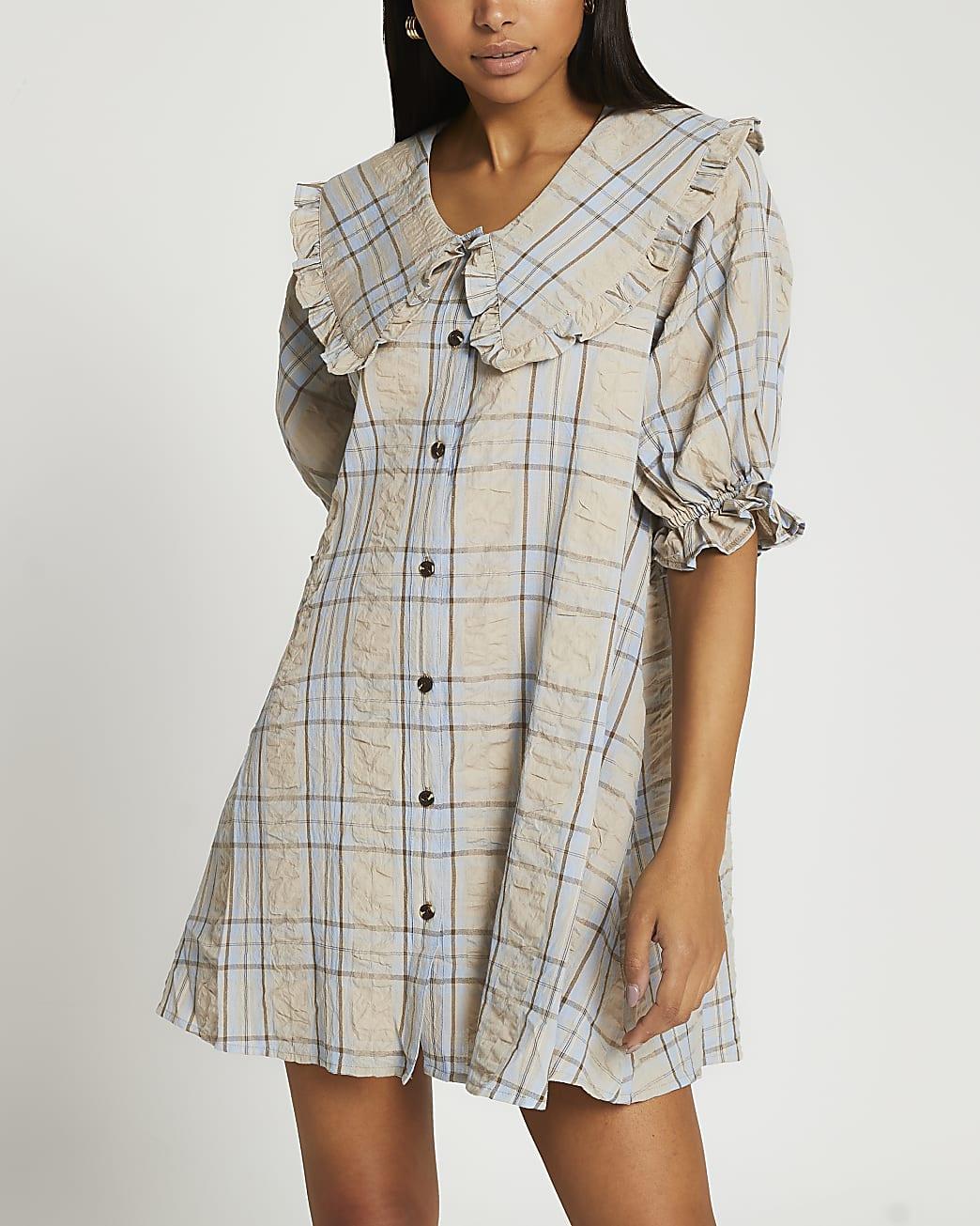 Grey check oversized collar mini dress