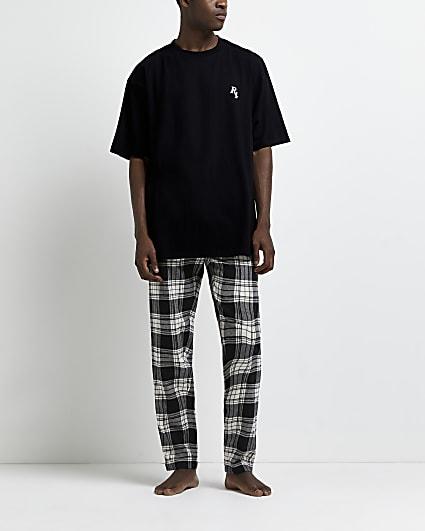 Grey check print jogger pyjama set