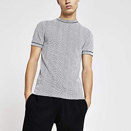 Grey check print muscle fit T-shirt