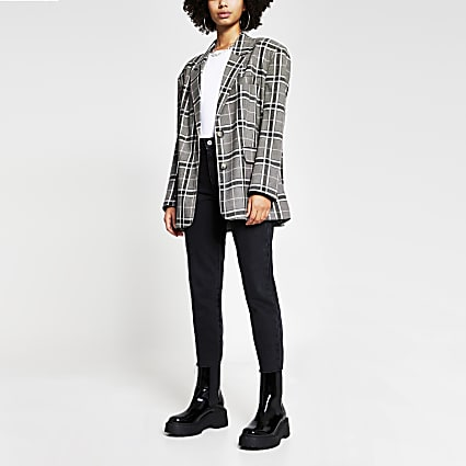 Grey check print oversized long sleeve blazer
