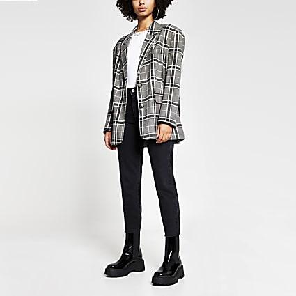 Grey check print oversized long sleeve blazer