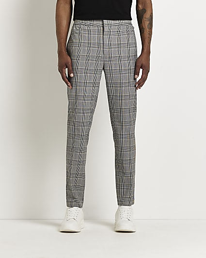 Grey check print slim fit jogger trousers