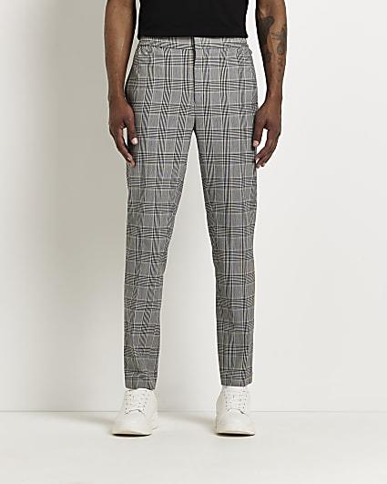 Grey check print slim fit trousers
