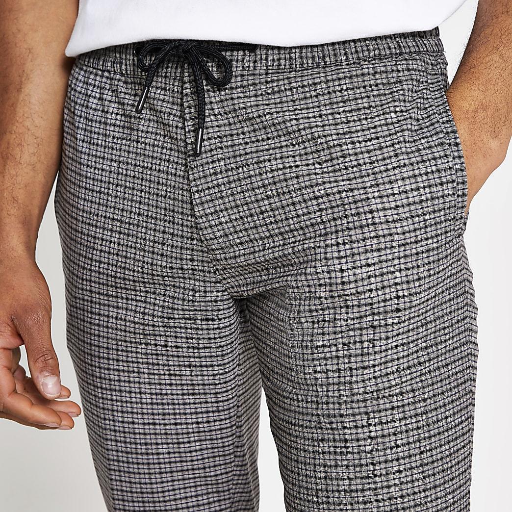 Grey check print smart skinny joggers
