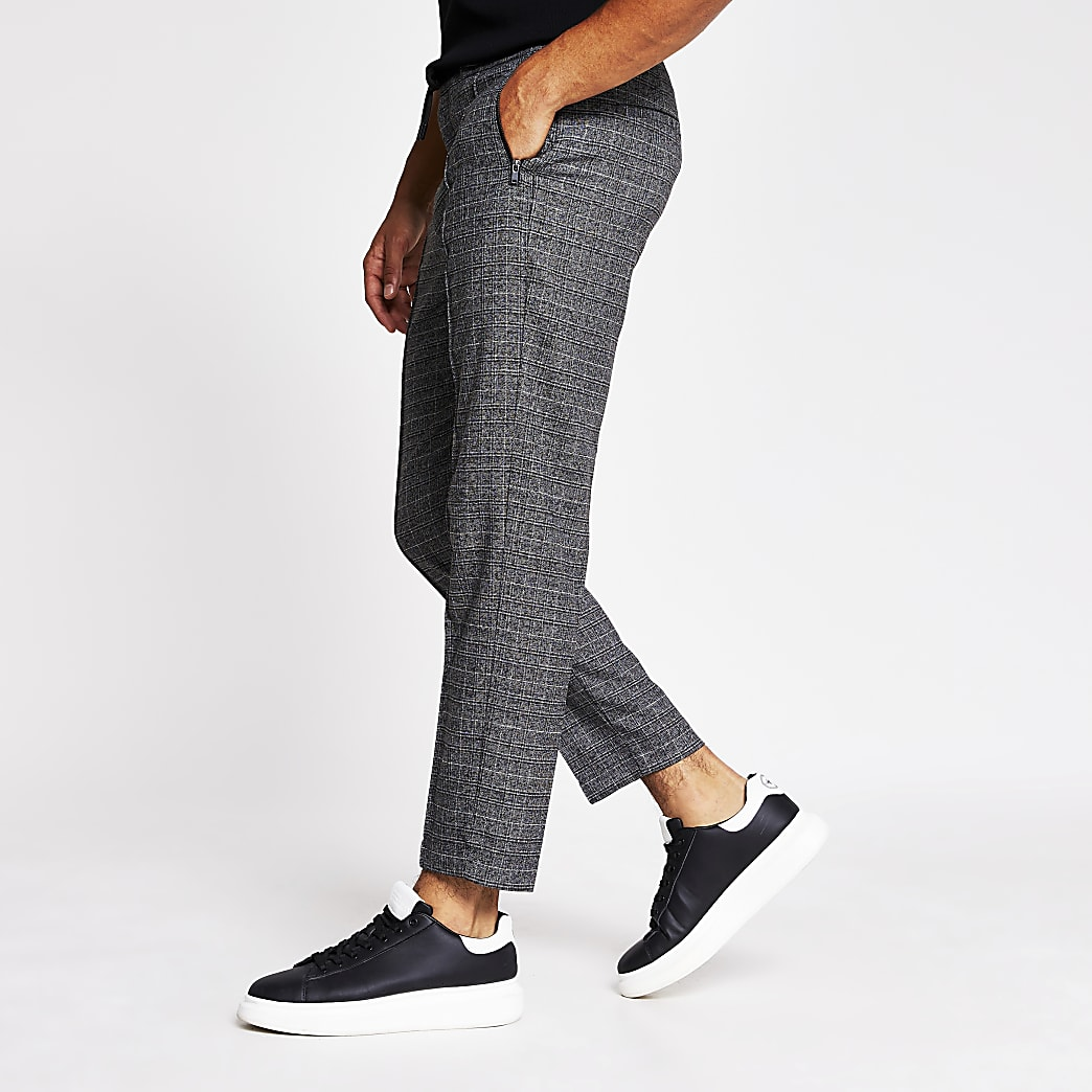 Grey check print smart skinny joggers