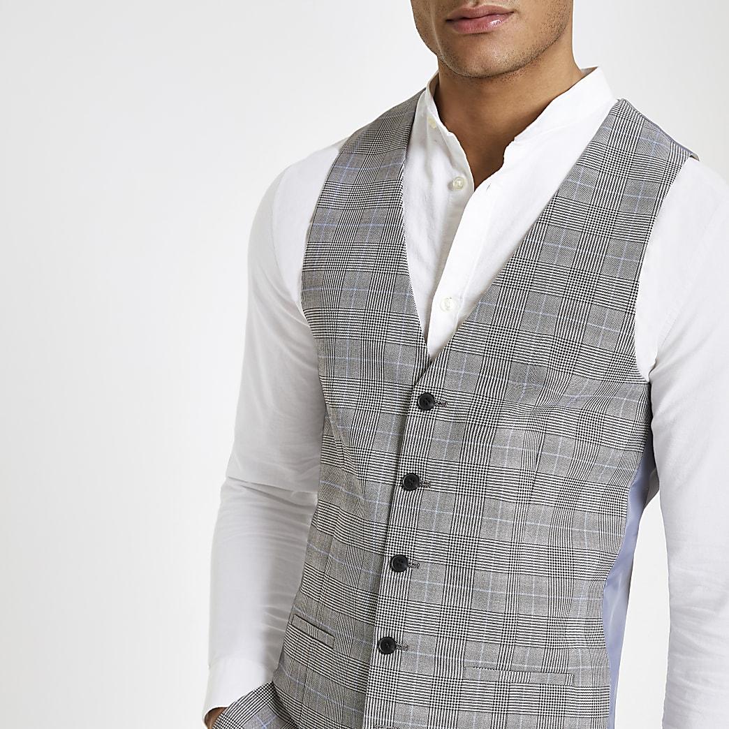 Grey check print suit waistcoat