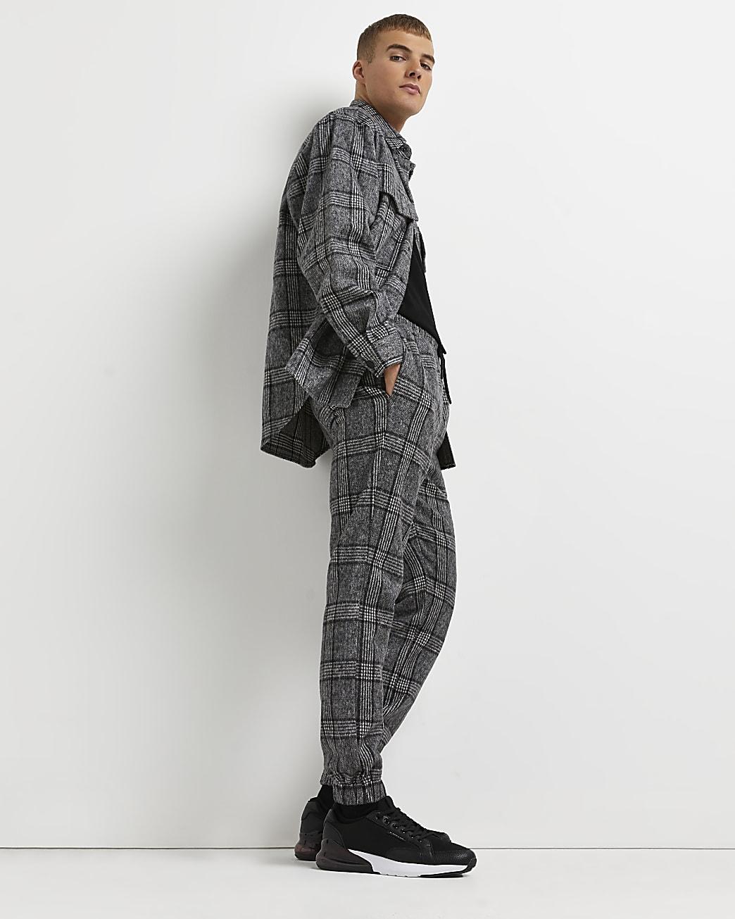 Grey check regular fit shirt and joggers set
