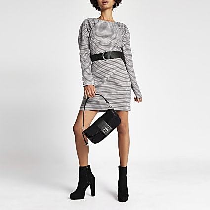 Grey check ruched shoulder mini dress