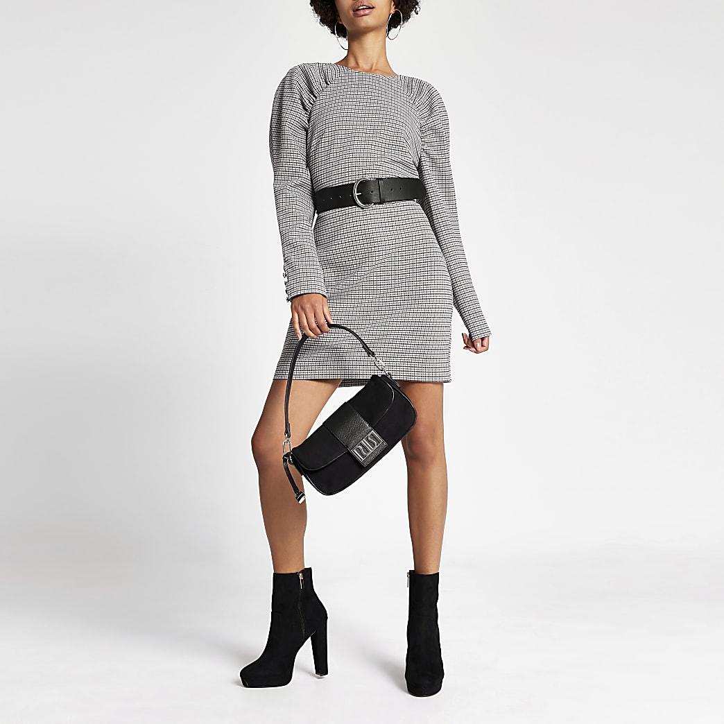 Grey check ruched shoulder mini dress