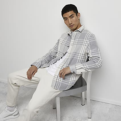 Grey check shacket
