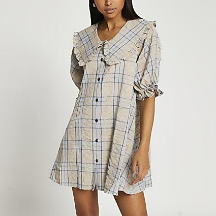 Grey check short puff sleeve collar dress