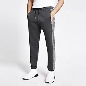Grey check side tape slim fit joggers