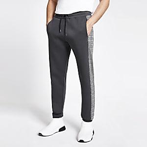 Pantalon de jogging slim avec bande latérale à carreaux gris