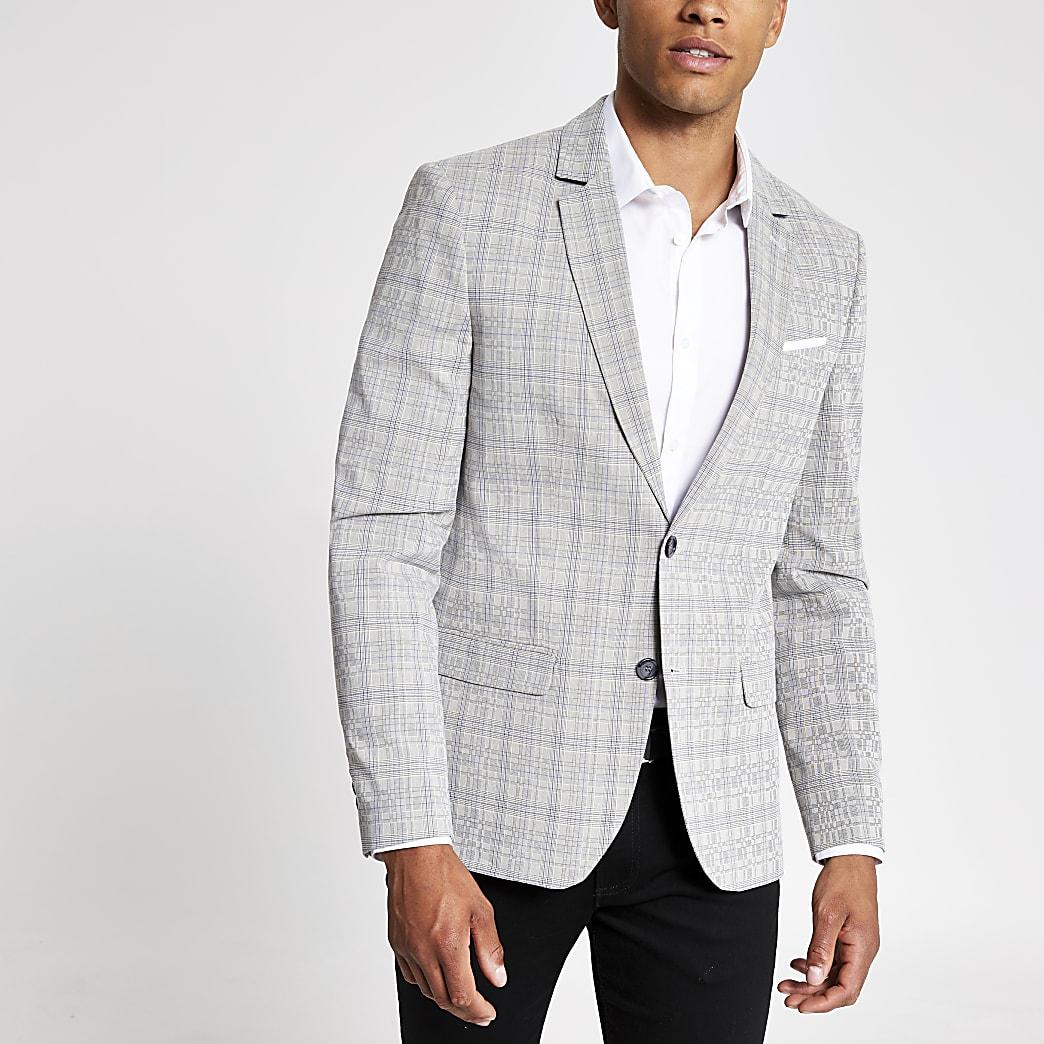 Grijze geruite skinny-fit blazer