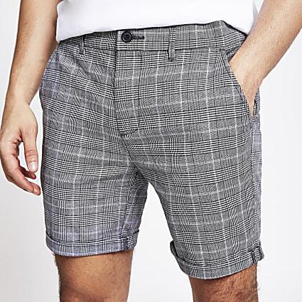 Grey check skinny fit shorts