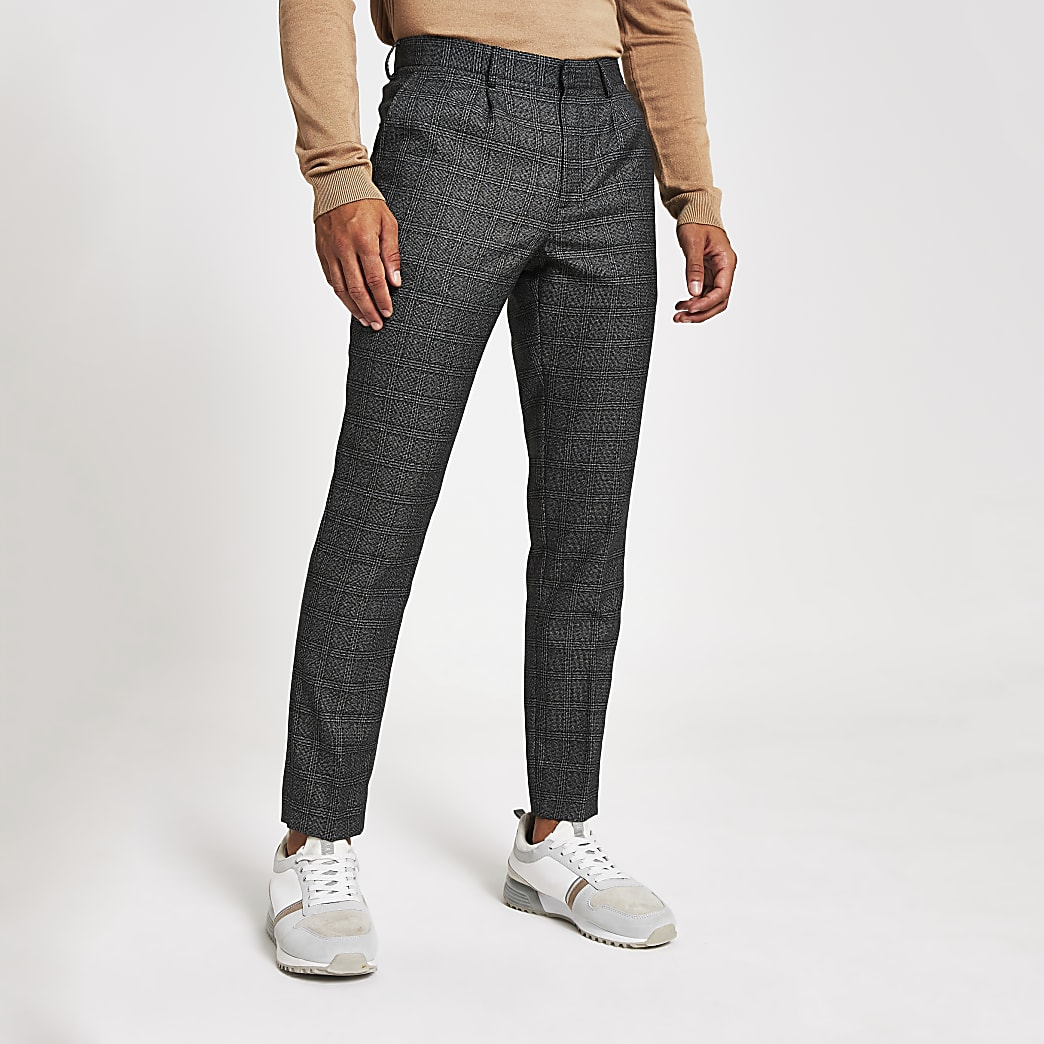Grey check skinny fit smart trousers