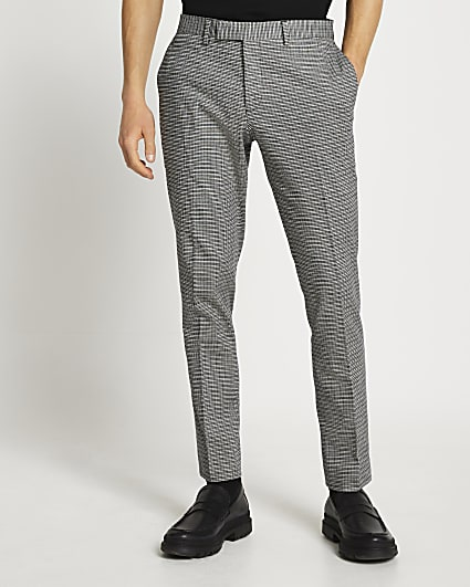 Grey check skinny fit suit trousers