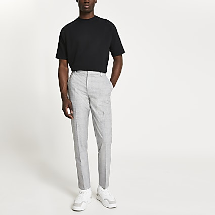 Grey check skinny fit trousers