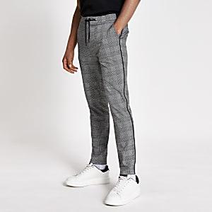 Grijze geruite skinny-fit broek