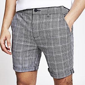 Graue, karierte Skinny Fit Shorts