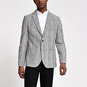 Grijze geruite single-breasted skinny blazer