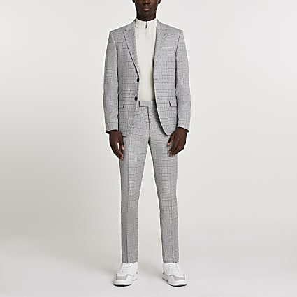Grey check skinny single breasted blazer