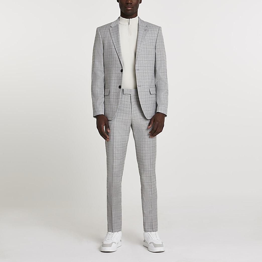 Grey check skinny single breasted blazer