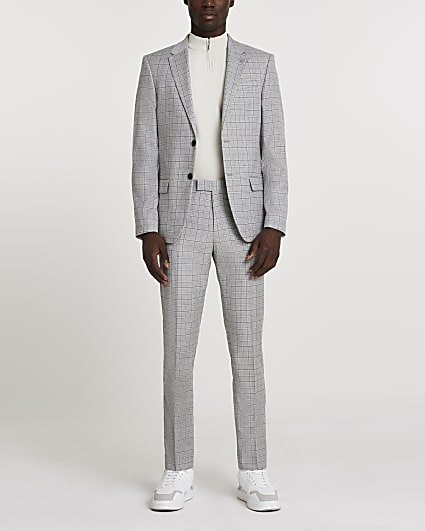 Grey check skinny single breasted suit jacket
