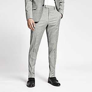 Pantalon slim à carreaux gris