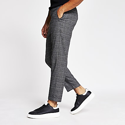 Grey check smart skinny joggers