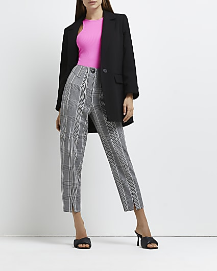 Grey check split front trousers