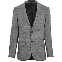 Grey check stretch slim fit suit jacket