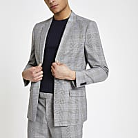 Grey check stretch slim fit suit jacket