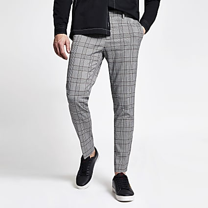 Grey check super skinny crop fit trousers