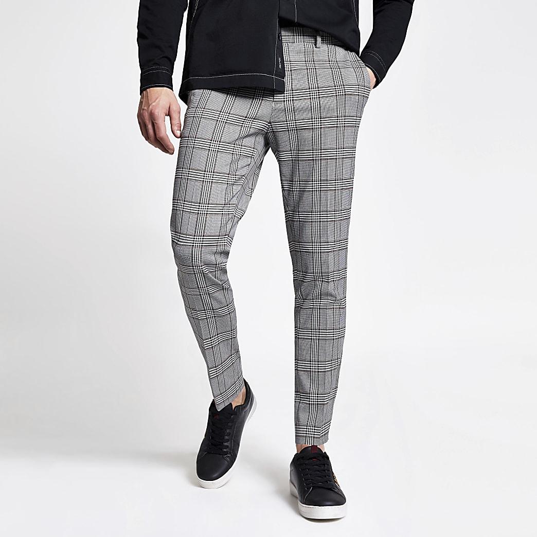 Grijze geruite superskinny cropped broek