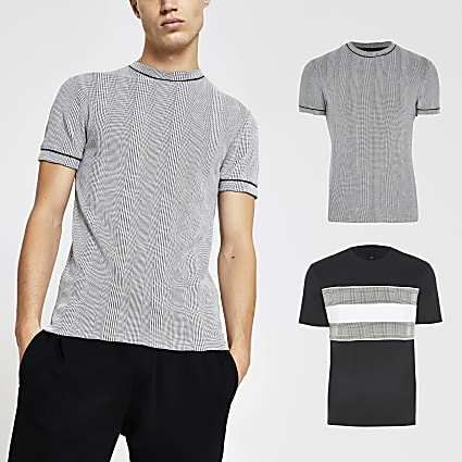 Grey check t-shirt 2 pack