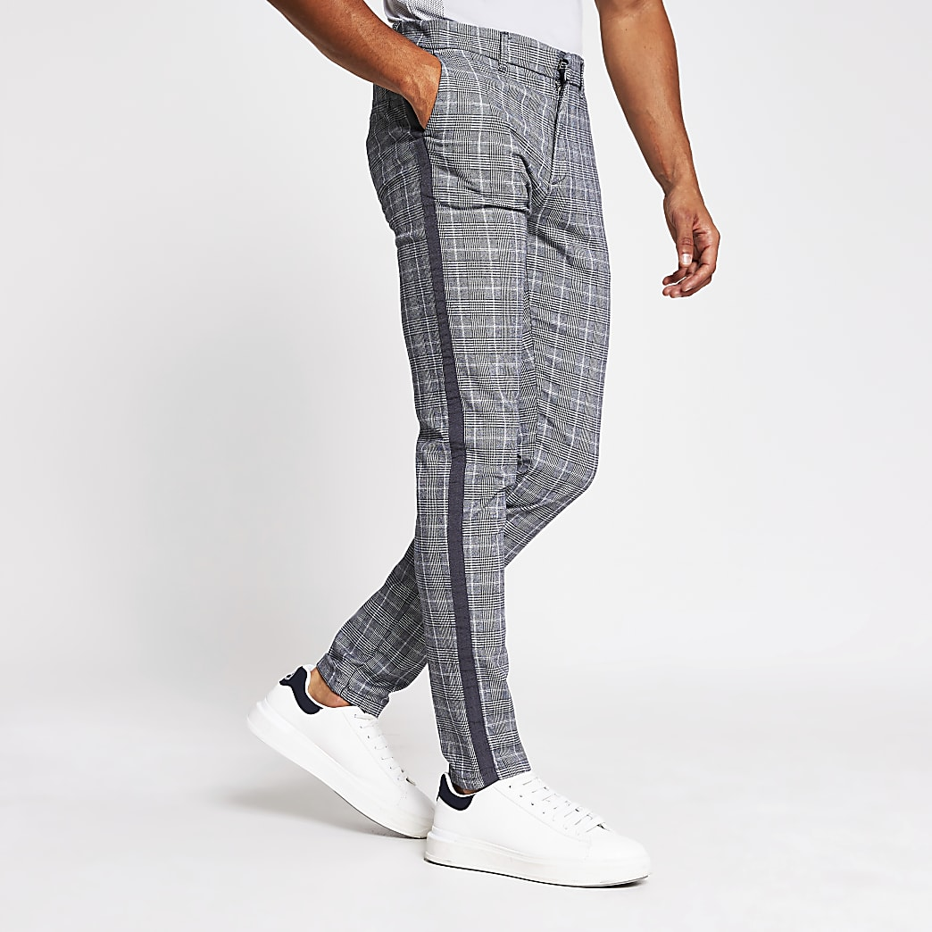 Grey check tape side skinny trousers