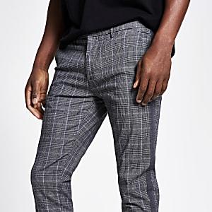 Pantalon ultra skinny à carreaux avec bande latérale gris